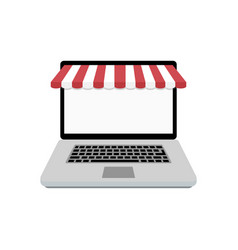 web online store laptop with awning vector image