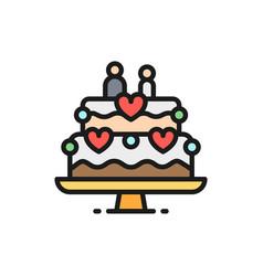 wedding cake with figures newlyweds flat color vector image