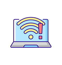Wi fi does not work rgb color icon vector