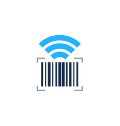 wifi barcode logo icon design vector image