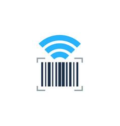 Wifi barcode logo icon design vector
