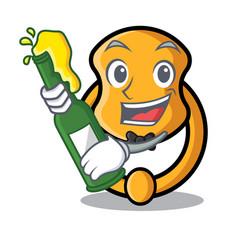 With beer vintage door knocker on mascot cartoon vector