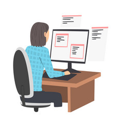 Woman as software developer or programmer engaged vector