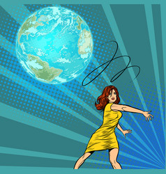 Woman throws out planet earth vector