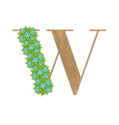 wooden leaves letter w vector image