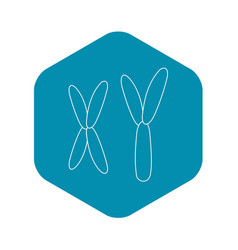 X and y chromosome icon outline style vector