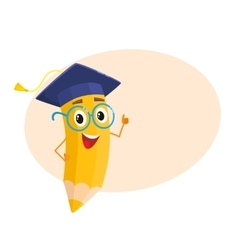 Yellow cartoon pencil with in graduation cap vector image