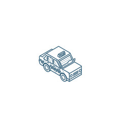 yellow taxi car isometric icon 3d line art vector image