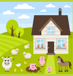 farm with different animals vector image vector image