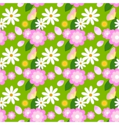 Floral spring pattern with chamomiles and vector image vector image