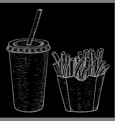 french fries and cola drink hand drawn sketch on vector image