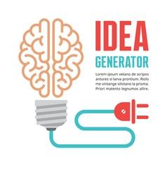 Human brain in light bulb vector image