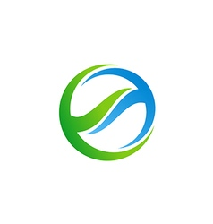 round abstract ecology technology logo vector image vector image