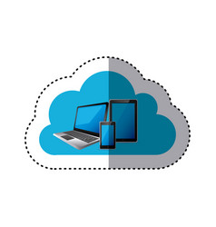 sticker cloud storage with set collection vector image