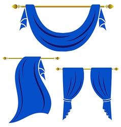 Blue curtain vintage set on white background vector image