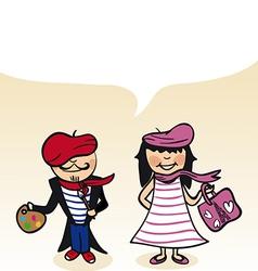 French cartoon couple bubble dialogue vector image