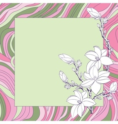 Greeting card with pink magnolia flowers vector image vector image