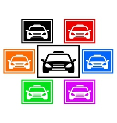 set colorful icon with taxi car vector image vector image