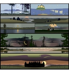 Set of 8 seamless panoramical landscapes vector image vector image