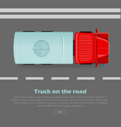 truck on road conceptual flat web banner vector image
