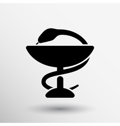 Black icon snakes and glass Raster aid ambulance vector image vector image