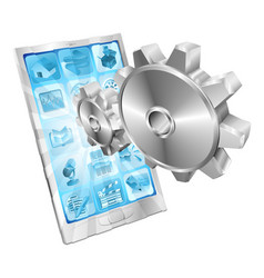 gear cogs flying out of phone screen concept vector image vector image