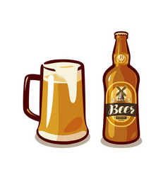 mug of craft beer with foam bottle ale or lager vector image vector image