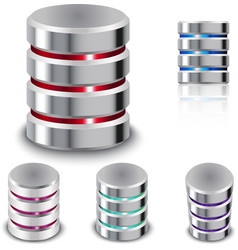 Set Database and Hard Disk Icon vector image