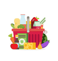 shopping basket with fresh food and drinkbuy vector image vector image