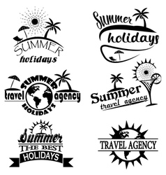 Vintage summer typography design with labels icon vector image