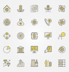 colorful investment icons vector image vector image