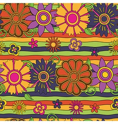 flowers and stripes psychedelic pattern vector image vector image