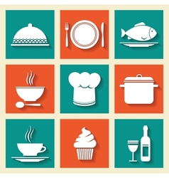 Restaurant cafe icons set vector image vector image