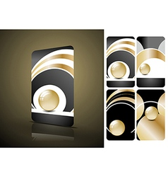 Vertical black and golden business cards vector image vector image