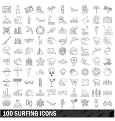 100 surfing icons set outline style vector image