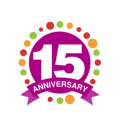 15 anniversary colored logo design happy holiday vector