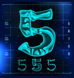 5 number five roentgen x-ray font light vector