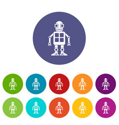 artificial intelligence concept icons set flat vector image