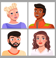Avatars young people cartoon characters vector