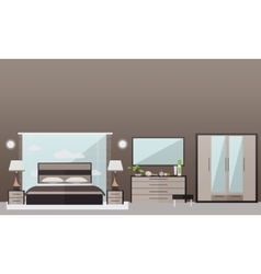 Bedroom interior in flat style vector