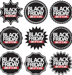 Black friday save up to 80 black signs set vector image