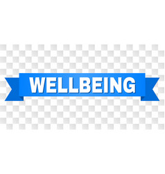 Blue ribbon with wellbeing title vector