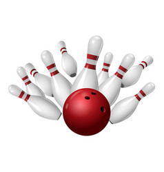 Bowling strike icon realistic style vector