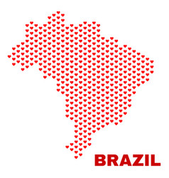 brazil map - mosaic of love hearts vector image