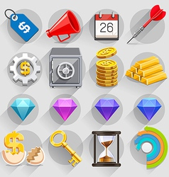 Business flat icons color set vector image