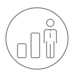 Businessman and graph line icon vector