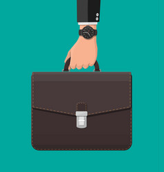 businessman with wrist watch and suitcase in hand vector image