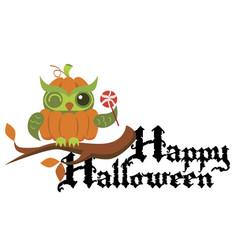 cartoon logo halloween orange pumpkin owl flat vector image