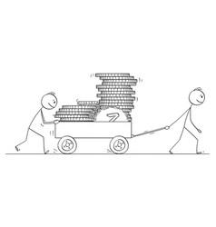 cartoon two men or businessmen pushing vector image