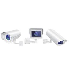 Cctv security camera set of surveillance devices vector